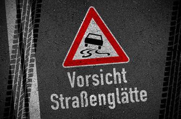 Asphalt mit Vorsicht Straßenglätte