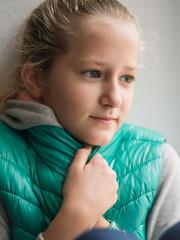 Young woman in fur coat
