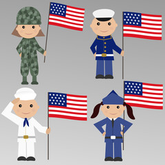 Children with USA military uniform