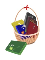 A Brown Basket with Six Holy Bible