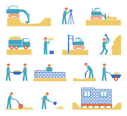 Set of builder construction industry icons