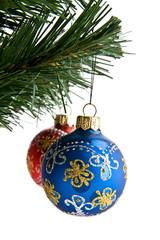 branch of fir-tree with dekaraciyami to Christmas