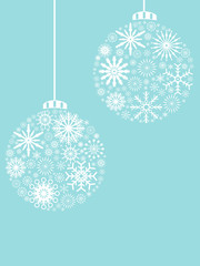 Christmas ball, snowflakes pattern background