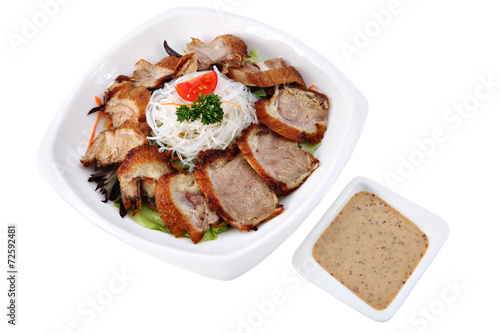 Papiers peints Assortiment Slices roasted beijing duck in a plate isolated on white.