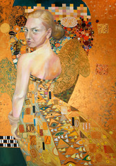 Portrait of beautiful woman, oil on canvas painting