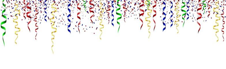 Birthday card with curling stream, confetti