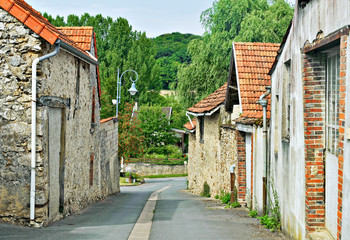 Street with traditional houses in Champagne-Ardenne