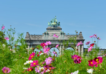 Triumphal Arch in Cinquantenaire Park in Brussels