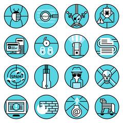 Hacker icons set blue line