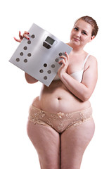 Young fat woman with bathroom scales