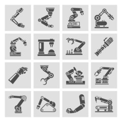 Robotic arm icons black