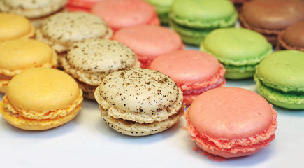 Macarons cakes on white paper