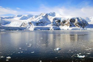 ice floes in antarctic ocean