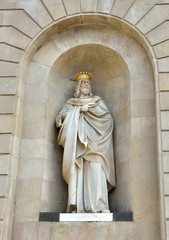 Marble statue of James I The Conqueror in Barcelona