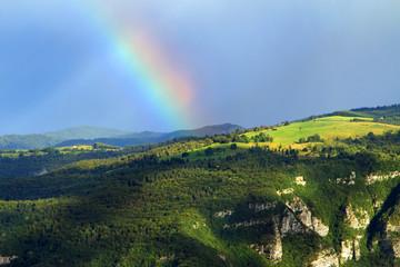 PreAlpi Venete landscape with a rainbow