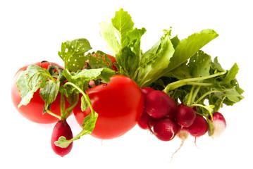 radish and tomatoes
