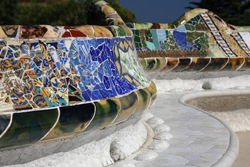 Bench in park Guell,Barcelona,Spain