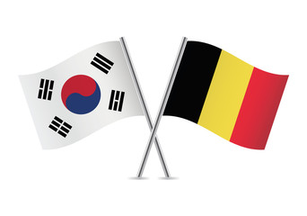 Belgian and South Korean flags. Vector illustration.