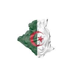 Low Poly Algeria Map with National Flag