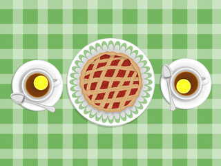 pie and cups of tea