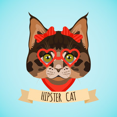 Hipster cat portrait