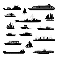 Ships and boats set black and white