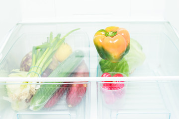 Vegetables in a fridge