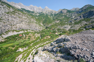Green Valley Between Kelmend Mountain, Albania