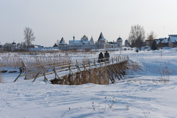 Russia. Suzdal in March. Pokrovsky Monastery in morning.