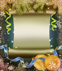 Old scroll, branches of the Christmas tree and streamers