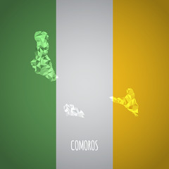 Low Poly Comoros with National Colors