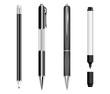 Set of black pens, pencil and marker
