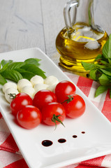 Caprese salad in shape of Italian flag