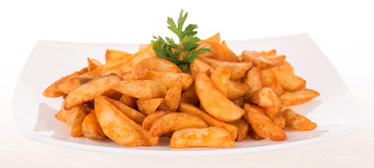 French fries decorated with parsley