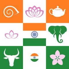 India. Icon set