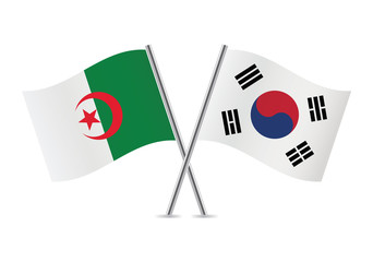 Algerian and South Korean flags. Vector illustration.