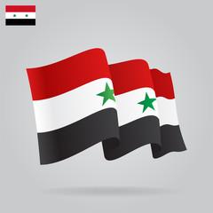 Flat and waving Syrian Flag. Vector
