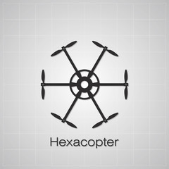 Hexacopter drawing on grey background