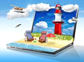 Strandurlaub online buchen. Laptop mit Strand und Leuchtturm