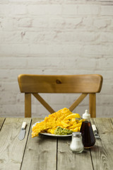 British Fish and Chips on a newspaper print plate