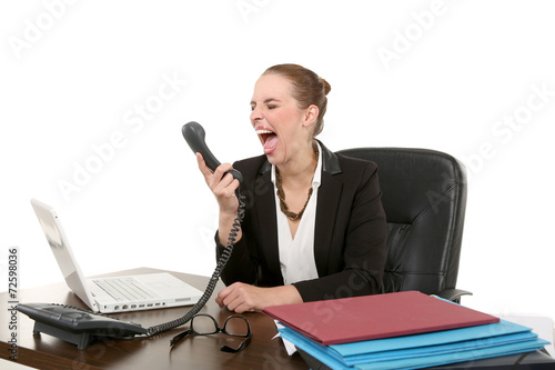 canvas print picture Sekretärin am Telefon