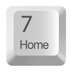 Pc number keypad 7 on white background