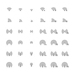 Set of different flat vector wi-fi and wireless icons for