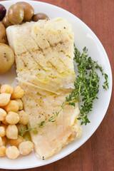 cod fish with chick pea and potato