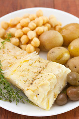 fish with chickpea and potato