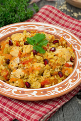 pilaf with vegetables, chicken and pomegranate on a plate