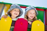happy little children on the playground