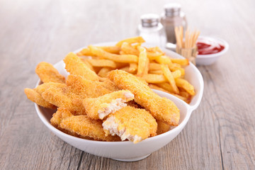breaded meat or fish