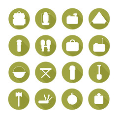 Set of  silhouette pictogram camping equipment symbols and icons