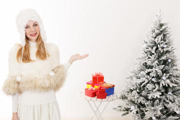 クリスマス 白人女性